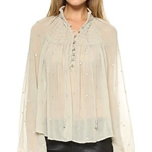 Free people polka dot blouse top ready to run